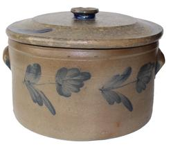 D135 Baltimore Cobalt-Decorated Stoneware Cake Crock with Lid, circa 1870, cylindrical crock with heavily-tooled shoulder, ribbed lug handles, cobalt decorating both sides..