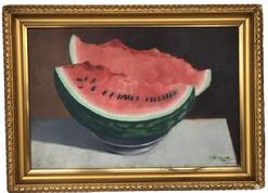 "D263 Oil on board watermelon still life, signed Ollie Lavvick and dated 1908, in gold gilt frame very good condition 12"" x 18"""