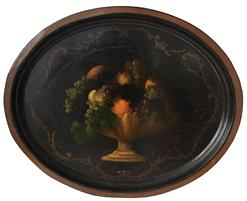 "D31 19th century toleware tray with ornate hand painted compote of fruit with decorated gilt stencil floral borders MEASUREMENTS: 24 1/2"" wide x 20 ""tall  1 "" high"