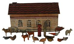 "D34 19th century  German painted Noah's Ark,  with eighteen figures, 14"" long"