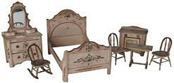 "D3 19th century 7 piece  Hand Painted Wood - DOLL SIZE - Cottage Bedroom Suite - Bed Dresser, Washstand - two side chairs, rocking chair ,   circa 1880  Measurements are : Bed 18"" long x 13"" tall x 12"" wide  Dress is 9 3/4"" wide x 16"" tall x 4 3/4"" deep"