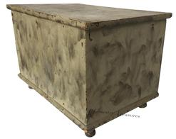 "D409 19th century Pennsylvania painted miniature blanket chest, retaining its original smoke decoration, dovetailed case  all original  13"" h., 19"" w. Provenance: The Collection of Dr. Carl Mogil, Cherry Hill, New Jersey."