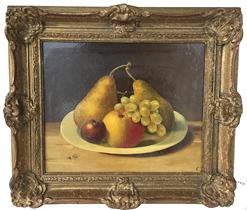 D413 Still life of Fruit Oil painting on board , very well done, sign by Artist early 20th century