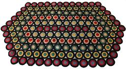 D42 C382 An exceptional late 19th or early 20th century Pennslyvania  Penny Rug,  Beautiful colors and graphic quality. hand stiched,