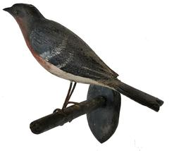 "D449 Late 19th centuryor  early twenty century Bucks County, Pennsylvania carved and painted bluebird on a twig branch, ca. 1900, 7"" long."