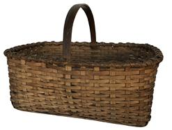 "D485 Gathering Basket  from Pennslyvania rectangle shape, with applied handle and a double wrapped rim, national old patina Measurements are:19"" long x 13"" wide x13"" tall"