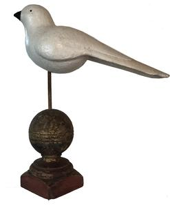 "D495 Mid twentith  century hand carved Dove perched  with nice carved tail, carved wings, measures 14 3/4"" long x 5 3/4"" tall"