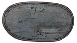 "D516 Oval ""Bride's"" Box in original blue paint. The top bears a delicate scalloped black painted border and is inscribed with fancy scroll initials ""J S"" and the date ""1842"" - also painted in black"