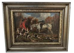 "E11 Late 19th century  Oil on board of Fox Hunting scene, signed in lower left corner  from the Smart Collection Uppervillle Virginia 9 1/4"" x 13 1/4"""