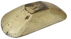 E130 Early 19th century Hand hewn original painted wooden trencher bowl from New England circa 1820s. The bowl is hand hewn from one solid piece of wood