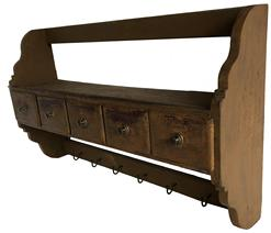 "E151 Late 19th century Hanging Wall Shelf with five dovetailed drawers, and case , in old mustard over the original red. Elaboarte shaped sides,  Six iron hooks for hanging Measurements are 33"" wide x 20"" tall x 8"" deep"