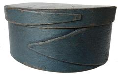 "E204   Pantry Box  Maple & pine, mid 19th C, New England.  Opposing fingered body & lid, tacked &  wood pegged construction.  Dry, original blue never painted over original surface patina. Diam 7"" diameter x 3 tall"