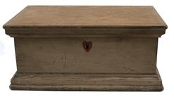 "E338 Late 18th century early 19th century Pennslyvania Medical  storage Box, in the original mustard with a red inlayed heart, with a unique divided interior. Tee nail construction, Measurements are 9 3/4"" wide x 6 3/4"" deep x 4 1/4"" tall"
