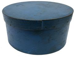 "E339 19th century Fantastic original blue painted Pantry Box  from New England.with over lapping bentwood sides, secured with small metal tacks.Great form and surface.The condition is very good measurements are: 9 3/4"" diameter  x 5 "" tall"