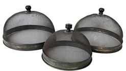 "E357  Late 19th century   set of three wire screen mesh with tin base domed food cover with fluted tin and turned wooden knob on the top, a cover to keep flies from landing on food  Measurements are: Largest 8"" diameter smallest is 6"" diameter"