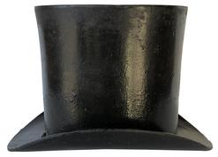 E457 Cast Iron Top Hat Shaped Spittoon. circa 1880,Patent applied for, porcelain interior by the Standard Mfg. Co., Pittsburg, PA. Excellent condition, best we have ever seen. 10 12/ X 6 1/2 X 8 inches.