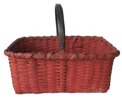 "E92 Beautiful Gathering basket with tomato red and black paint. circa late 19th century very well made. with a double wrapped rim. It is heavy and tight , it has  a nice steamed and bent high handle.Measurements are: 18"" long x 13"" wide x 15"" tall"