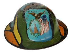 RM603 Patriotic New York WWI (1914-1918) trench art camo painted helmet.  There is no doubts in the age of the paint being from the WWI period.
