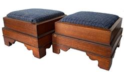 F126 19th century Chippendale style matching pair of walnut foot stools, beautiful original surface to the walnut wood , The Stool are covered with period correct fabric, circa 1840