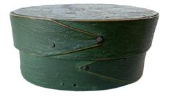 "F629 19th Century small green painted oval pantry box, single finger laps. in original green paint   2 3/4"" x 3 3/4"""