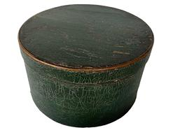 F718   19th century  Painted  Round Wooden Pantry Box, in old green gatored green  paint  Excellent old green  paint ,ca. 1880; bentwood box with tack bands,