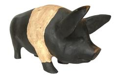 "F734  Early 20th century Pennsylvania  great piece of  folk art,  wooden hand carved Pig signed and dated 1986   , Measures 16 1/2"" long x 7 3/4 "" tall x  4 3/4"" wide"