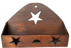 "**SOLD** F89 Late 19th century North Carolina Wall Box in old natural patina, with cut out stars and moon, triangle hold for hanging nail construction Measurements are:  9 1/2"" tall x 14"" wide x 3 1/2' deep"