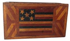 "Rm1002 Gorgeous 19th Century Patriotic document box with inlayed American Flag    notice that the stripes are THREE colors - red blue and plain (symbolizing white) - the real moment of truth is when I opened it up to find that the maker still had some admirations/loyalties to the mother land and had added the British flag to the underside of the lid - wow - the box has a patina to die for -   measures  8 3/4"" long X 5"" wide X 3 3/4"" tall"