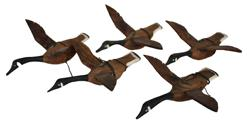 B96 Hand carved wooden flying  Geese, set of five circa 1930's