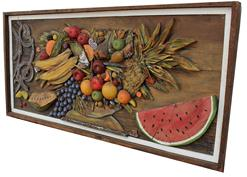 C398  20th century Folk Art  wooden carved fruit wall  hanging, it is mounted on board,  it is a collection of different fruits, carved  and painted on board, dated