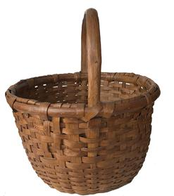 "E37 Early 20th century Eastern Shore Maryland hand made Basket in old natural patina, with a double wrapped rim  beautiful steamed and bent handle, reinforce bottom, excellent condition, Measurements are: 15"" diameter x 17"" tall"