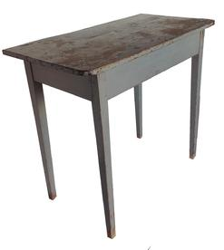 "J960 Early 19th century Pennsylvania side Table or Server, (1820-1830) early gray paint. Fully mortised and pegged base, with a one board top, which is pegged on.  the Table has rounded corners 17"" deep x32 1/4"" wide x 29"" tall"