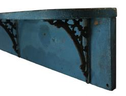 "LL21 Late 19th century Wall Shelf with old blue paint, two board construction with round corners, the shelf is support with three cast iron brackets, the wood is white pine  circa 1870 44"" wide x 8 3/4"" tall x 7"" deep"