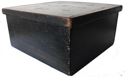 LL23 19th century wooden storage  Box with the original black paint, very unusual with a removable lid, nailed construction with square head nails, Used in a Country Store,  to transport bake goods, circa 1840