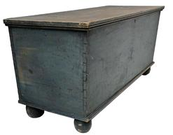 "MS3 Early 19th century Oley Pa. Blanket Chest, with the original dry blue paint, dovetailed case, original fish tail strap hinges, circa 1820 -1840   17"" deep x 43 3/4"" wide x 19 3/4"" tall"