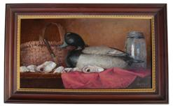 LC1 Oil on canvas by Lloyd Cargile Baltimore Maryland ,  of Blue Bill by Ira  Hudson, with oyster and basket