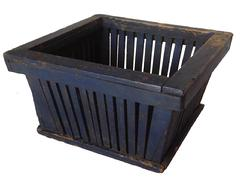 "R157 Basket from an Amish Village in  Centreville Michigan, this very well made Basket still retains it original ink blue paint, construction is wooden slates sides with a solid wood bottom all original 9"" x9 1/2"" x 5"" tall"
