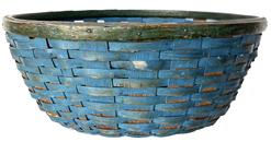RM1207  19th Century Pennsylvania gathering basket retaining it's wonderful original dry blue paint ,has a small break in bottom that doesn�t take away from this unusual form of basket    Circa 1870 measurements 18 1/2� diameter 7 1/2� tall