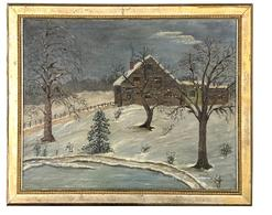 RM1208 Great New England oil painting on canvas-signed on front by �LYNOTT� and noted on back that it was �Painted by �Guillum Lynott -1951-� The serene snow scene depicts a lovely home with several additions, a fence lined driveway and snow covered trees by an ice covered pond.  The details within this painting present the viewer with not only the feelings of coziness...as a soft glow of light shines through the windows while the smoke from a warm winter fire escapes the chimney..... but also the grasp of Winter�s coldness that envelops the landscape!  Nicely framed and ready to hang! Beautiful addition to any collection!  Measurements are:  22 1/2 wide 18 1/2� tall