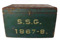 RM555  DATED 1867-8  ORIGINAL WINDSOR GREEN/BLUE PAINTED DOCUMENT BOX.   this Box has the unique period date numbers . It measures 13 ''w x 8'' h x 9 1/2''d. the windsor green paint is all original and it is constructed of original square nails and hinges are original also. the authentic age appropriate wear on this is primitively superb.