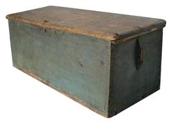 RM571 18th century original blue painted Sea Chest dovetailed case, one board, rose head nail construction. Canted front ,