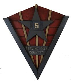 "RM622  Mid 20th century Americana V for victory wooden shield in red, white and blue paint. This is from a small town in Illinois to display the number of local Service Men and Women serving their country from the town. Great piece of Americana  Measurements are 24"" tall x 20"" wid"