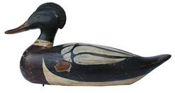 "RM680 Red-Breasted Merganser Drake Wood DECOY by Frank Finney Sold at auction and listed and pictured in the catalog titled ""Waterfowl and Shorebird Decoys"" April 16, 1986 at William Doyle Galleries, NY, with the following description: #121 ""Decorative Red-Breasted Merganser Drake - By Frank Finney, Virginia Beach, Virginia;"