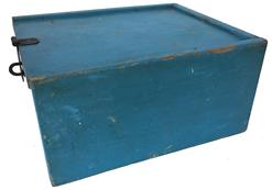 Mid 19th Century original blue painted Candle Box / Money Box. Wonderful sliding lid box was used as a cash box for a country store in Salisbury Maryland during the late 1800�s. Square head nail construction robin egg blue with red interior, a iron latch was added by the store owner measurements: 10� long 8 1/2 wide 5� tall