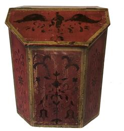 RM910  19th Century wooden paint decorated Coffee Bin,wonderful red painted background with gilded tulips and Eagle with spread wings on lid.   These were used in small country store�s for selling coffee out of. measures 20�wide 24�tall 20�deep