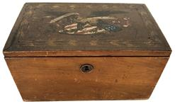 PATRIOTIC 1850-60S CIVIL WAR ERA DOCUMENT BOX WITH ORIGINAL EAGLE & FLAGS HAND PAINTED ON LID - ORIGINAL KEY.