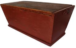 C580 19th century Pennslyvania table top Dough Box, with the original beautiful red paint, dovetailed case, the wood is pine, the interior of the box is nice and clean, with a removable lid.