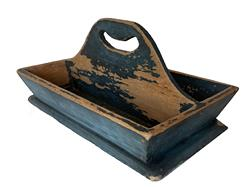 "T346 Pennsylvania original blue painted Cutlery Tray , with a nice high handle, the inside of the tray is showing wear from use, flared sided, nailed construction with square head nails. A nice addition to any collection  circa 1850  measurement are: 13"" long x 7 1/2"" wide"