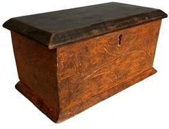 F563 Late 19th century Tobacco Box in original pumpkin and black paint. Hand carved front with original label inside.