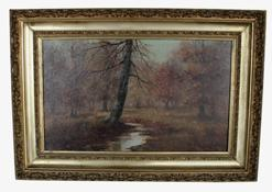 U572 Oil on canvas of woods Landscape, signed  M.D. Williams, circa 1880 in original gold gilt frame, very good condition  15 3/$ x 22 3/4